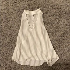 high necked striped top